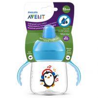 AVENT Чаша 12м.+твърд накрайник пингвин син, 260 мл.
