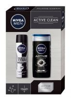 NIVEA MEN XMAS'19 PERSONAL CARE ACTIVE CLEAN Подаръчен комплект део спрей 150мл+ душ гел 250 мл +кутия