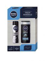 NIVEA MEN XMAS'19 PERSONAL CARE FRESH MINERALS Подаръчен комплектдео спрей 150 мл+ душ гел 250 мл +кутия