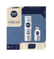 NIVEA MEN XMAS'19 PERSONAL CARE STUBBLE SKIN Подаръчен комплек пяна за бръснене+балсам за след бръснене+кутия