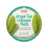 PUREDERM Маска за лице  с колаген и Вит Е с екстракт от зелен чай, 18 гр.