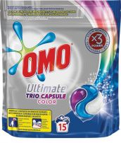 ОМО ULTIMATE Течни капсули трио за цветно пране, 15бр.