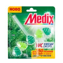 MEDIX WC FRESH DROPS PINE Твърдо тоалетно блокче с аромат набор 55гр., 1 бр.