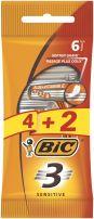 BIC 3 ACTION SENSITIVE Еднократна самобръсначка 3 ножчета, 4+2 бр.