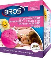 BROS Електрически изпарител + таблетки против комари, 10 бр.
