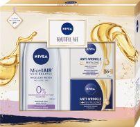 NIVEA BEAUTIFUL AGE Подаръчен комплект Възстановяващ дневен крем против бръчки Clever Age 55+, 50мл+Възстановяващ нощен крем против бръчки  55+, 50мл+Aqua Effect 3-in-1 Мицеларна вода, 200мл