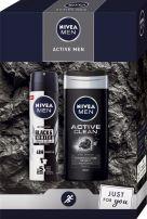 NIVEA MEN ACTIVE MEN Подаръчен комплект Deo Спрей мъжки Invisible on Black & White,150 мл+Душ-гел Active Clean,250 мл