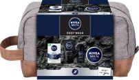 NIVEA MEN DEEP WASH Подаръчен комплект Балсам за след бръснене Sensitive, 100мл+Измиващ гел за лице Deep, 100ml+ Deo Рол-он мъжки Deep, 50мл+ Крем за мъже, 75мл