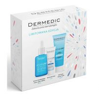 DERMEDIC HIDRAIN Подаръчен комплект Серум за лице, шия и деколте, 30 мл + Крем за зоната под очите, 7 мл + Кремообразен почистващ гел, 25 мл
