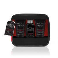 BAYLIS & HARDING SIGNATURE MEN'S BLACK PEPPER & GINSENG Подаръчен комплект  Чантичка за тоалетни принадлежности + Почистващ гел за коса и тяло 100мл + Афтършейв 50мл + Измиващ гел за лице 50мл