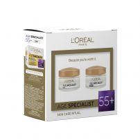 L'OREAL Paris Age Specialist 55+ Подаръчен комплект Дневен крем 50мл + нощен крем 50мл