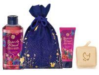 YVES ROCHER BAIES DE MINUIT Подаръчен комплект душ гел 400 мл + крем за ръце 75 мл + гъба за баня + сатенена торбичка