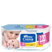 BABY CREMA Бебешки мокри кърпи лайка икономични с капак, 120 бр