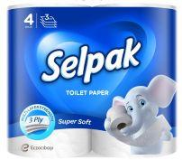 SELPAK SUPER SOFT Тоалетна хартия 3 пласта, 4 бр.
