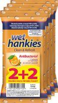 WET HANKIES Портокал антибактериални мокри кърпички 2+2