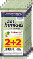 WET HANKIES Зелена ябълка антибактериални мокри кърпички 2+2