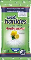 WET HANKIES Антибактериални мокри кърпи лимон, 15 бр.