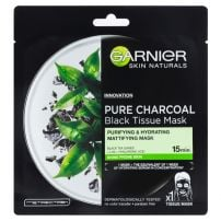 GARNIER SKIN NATURALS PURE CHARCOAL BLACK TISSUE MASKS Маска за лице SHINE PRONE SKIN, 28 гр.