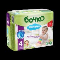 БОЧКО Бебешки пелени Макси размер 4, 7-18 кг., 30бр.