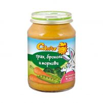 СЛЪНЧО Пюре грах, броколи и моркови, 190 гр.