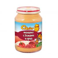 СЛЪНЧО Пюре телешко с домати и ориз, 190 гр.