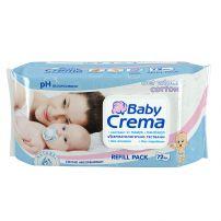 BABY CREMA Бебешки мокри кърпи с екстракт от памук, 72 бр.