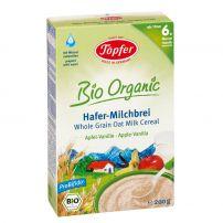 LACTANA BIO Млечна био каша с пълнозърнест овес, ябълка и ванилия от 6+ М., 200 гр