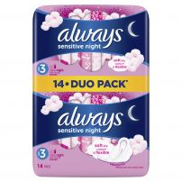 ALWAYS SENSITIVE ULTRA NIGHT DUO PACK Дамски превръзки , 14 бр.