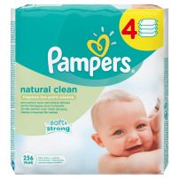 PAMPERS NATURAL CLEAN Мокри кърпички, 4х64 бр.