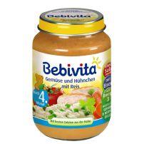 BEBIVITA Пюре ориз, зеленуци и пилешко месо 1032, 190 гр
