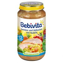 BEBIVITA Пюре зеленчуци, спагети и пилешко месо 1052, 250 гр