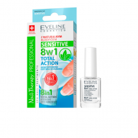 EVELINE NAILS TOTAL ACTION SENSITIVE Интензивен заздравител 8 в 1, 12 мл.
