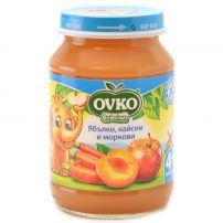 BEBELAN OVKO Пюре ябълки, кайсии и моркови 4+мес, 190 гр