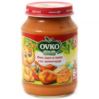 BEBELAN OVKO Пюре фин заек с пилешко и зеленчуци, 190гр