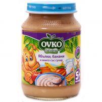 BEBELAN OVKO Млечна каша ябълки, банани, манго и сухар 5+м., 190гр