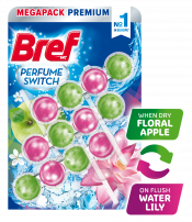 BREF WC PERFUME SWITCH FLORAL APPLE & WATER LILY Ароматизатор за тоалетна, 3 х 50 гр.