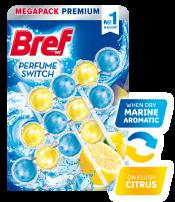 BREF WC PERFUME SWITCH FLORAL MARINE AROMATIC & FLUSH CITRUS Ароматизатор за тоалетна, 3 х 50 гр.