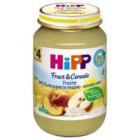 HIPP BIO Пюре пълнозърнеста каша от плодове и ориз 4703, 190 гр