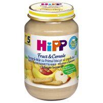 HIPP BIO Пюре пълнозърнеста каша от ябълки и банани 4710, 190 гр