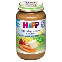HIPP Пюре спагети, домати, зеленчуци и риба 6823, 220 гр