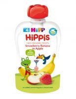 HIPP HIPPIS Био плодова закуска ябълка, ягоди и банан 8521, 100 гр.